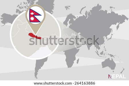 World map with magnified Nepal. Nepal flag and map. - stock vector