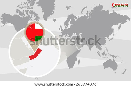 World map with magnified Oman. Oman flag and map. - stock vector