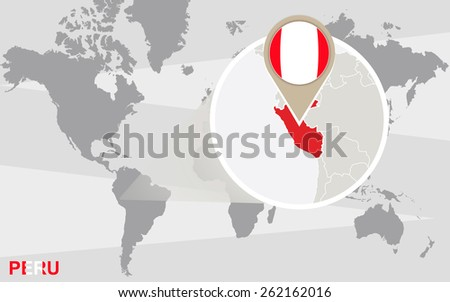 World map with magnified Peru. Peru flag and map. - stock vector