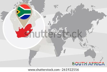 World map with magnified South Africa. South Africa flag and map. - stock vector
