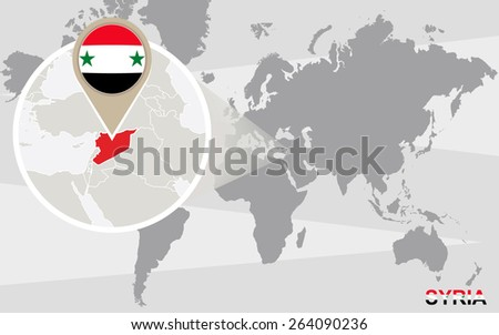 World map with magnified Syria. Syria flag and map. - stock vector
