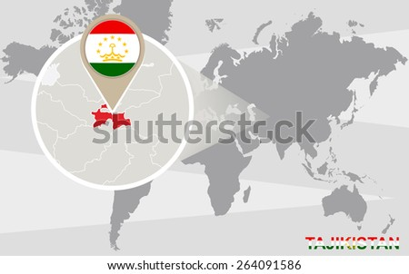 World map with magnified Tajikistan. Tajikistan flag and map. - stock vector
