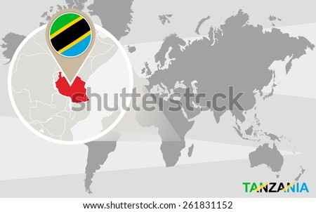 World map with magnified Tanzania. Tanzania flag and map. - stock vector