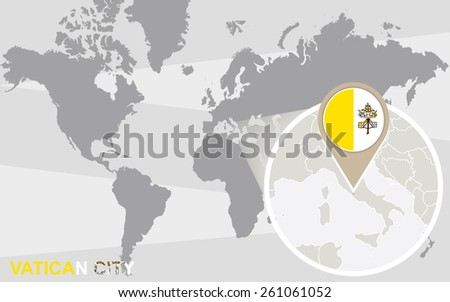 World map with magnified Vatican City. Vatican City flag and map. - stock vector