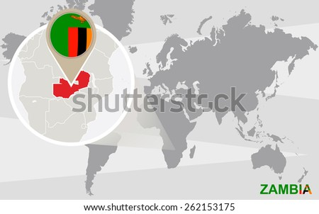 World map magnified zambia zambia flag stock vector 262153175 world map with magnified zambia zambia flag and map gumiabroncs Gallery