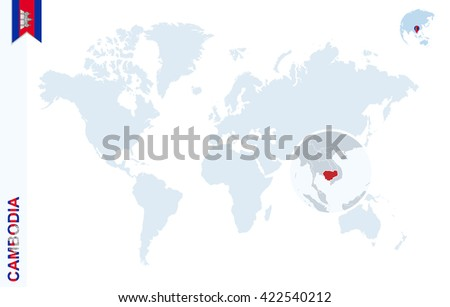 World map magnifying on cambodia blue stock vector 422540212 world map with magnifying on cambodia blue earth globe with cambodia flag pin zoom gumiabroncs Images