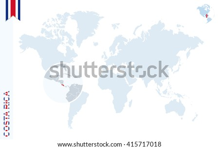 World map magnifying on costa rica stock vector 415717018 world map with magnifying on costa rica blue earth globe with costa rica flag pin gumiabroncs Image collections