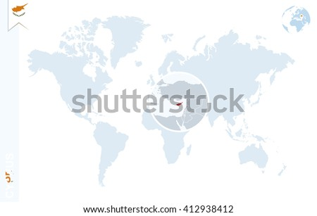 World map magnifying on cyprus blue stock vector 412938412 world map with magnifying on cyprus blue earth globe with cyprus flag pin zoom gumiabroncs Choice Image
