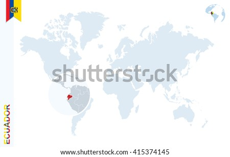 world map with magnifying on ecuador blue earth globe with ecuador flag pin zoom