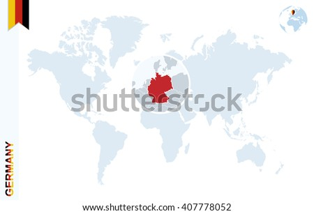 World Map Magnifying On Germany Blue Stock Vector 407778052 ...