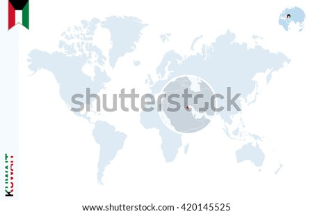 World map magnifying on kuwait blue stock vector 2018 420145525 world map with magnifying on kuwait blue earth globe with kuwait flag pin zoom gumiabroncs Gallery
