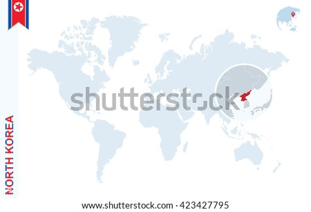 World map magnifying on north korea stock vector hd royalty free world map with magnifying on north korea blue earth globe with north korea flag pin gumiabroncs Images