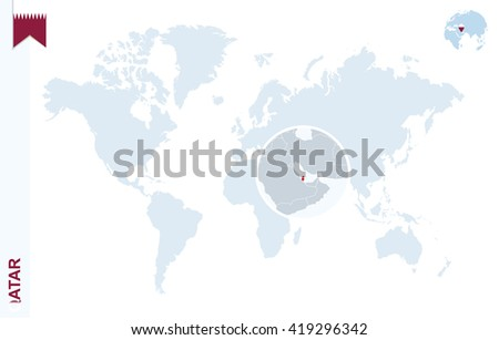 World map magnifying on qatar blue stock vector 419296342 shutterstock world map with magnifying on qatar blue earth globe with qatar flag pin zoom gumiabroncs Images