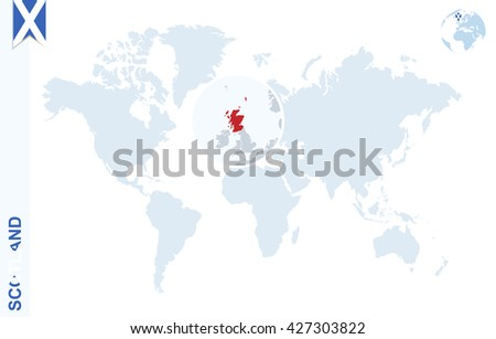 World map magnifying on scotland blue stock vector 427303822 world map with magnifying on scotland blue earth globe with scotland flag pin zoom gumiabroncs Choice Image