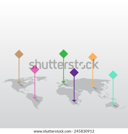 World map with marks - stock vector