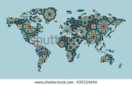 World Map With Morocco Mosaic. Traditional Arabic Islamic Design. Green, blue, black on blue. - stock vector