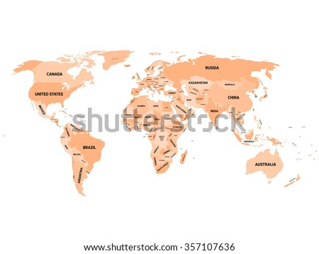 World map with names of sovereign countries and larger dependent territories. Simplified vector map in four shades of orange on white background. - stock vector