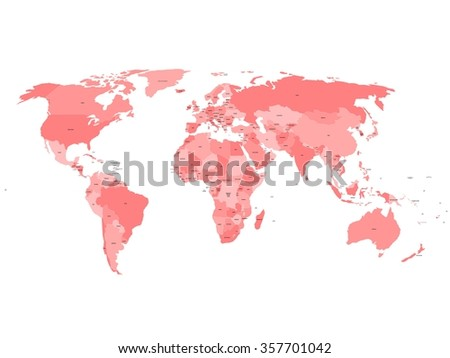 World map with names of sovereign countries and larger dependent territories. Simplified vector map in four shades of red on white background. - stock vector