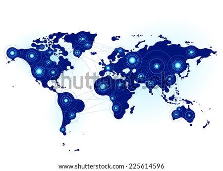 World map with nodes linked by lines. Eps8. RGB. Organized by layers. Global colors. Gradients used. - stock vector