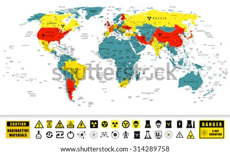 World map nuclear power countries location vectores en stock world map with nuclear power countries location on it and nuclear power technology icons with contamination gumiabroncs Image collections