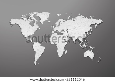 World map with paper texture and shadow on gray background - stock vector