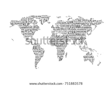 World Map Pattern Capital Cities Names Stock Vector 751883578