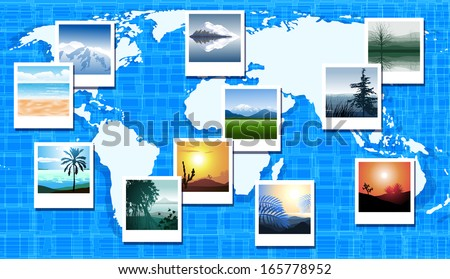 World map with photos of different geographic locations - stock vector
