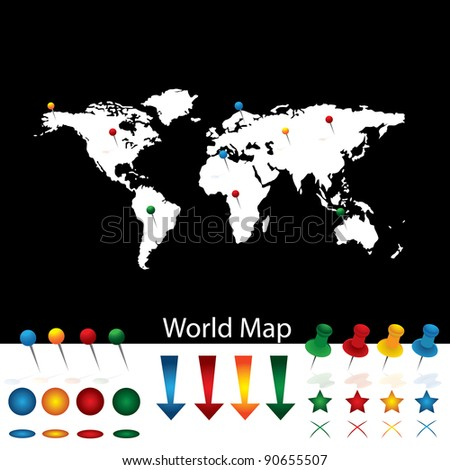 World Map With Pins - stock vector