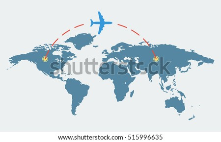 World map plane travel tourism concept vector de stock515996635 world map with plane travel and tourism concept airplane route vector illustration gumiabroncs Image collections