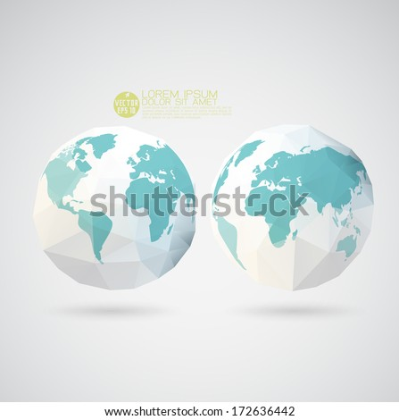 World map with polygon textured isolated on background, vector illustration - stock vector