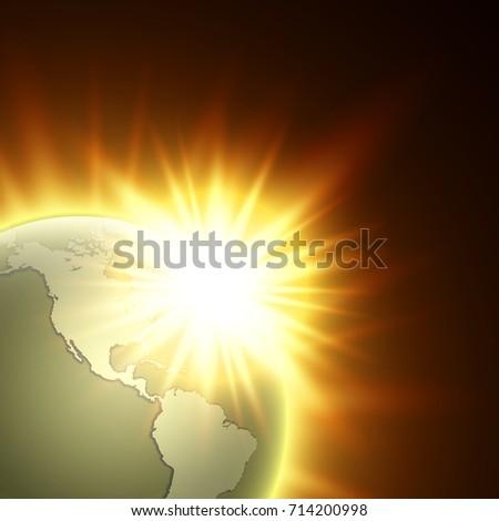 World map rising sun banner globe stock vector 714200998 world map with rising sun banner globe icon in space sunlight poster planet earth gumiabroncs Choice Image