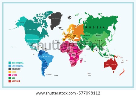 World Map Highlighted Continents Different Colors Stock Vector - Name of continents