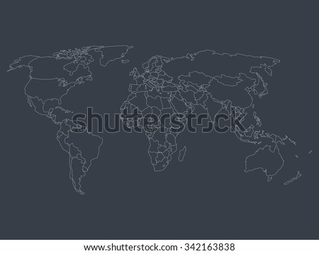 World map smoothed country borders thin stock vector 342163838 world map with smoothed country borders thin white outline on dark grey background gumiabroncs Images
