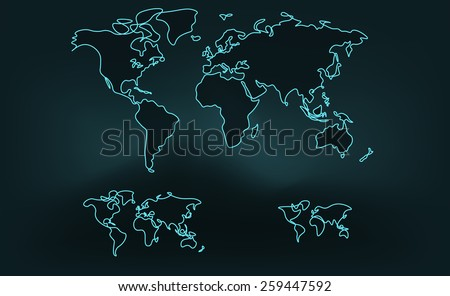 Drawing Smooth Curved Lines In Photo : World map soft curved line three stock vector  shutterstock