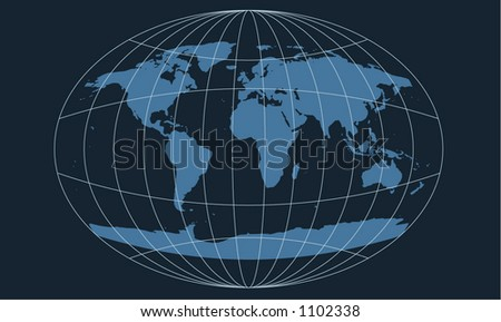 world map with space age oval grid overlay - stock vector
