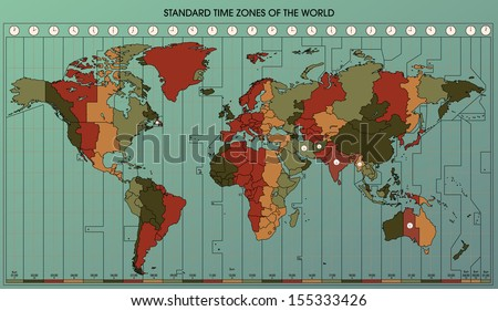 World Map with Standard Time Zones. Cartography Collection. Vector Illustration. Easy to edit.