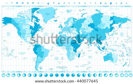 World map standard time zones soft stock vector hd royalty free world map with standard time zones soft tints of blue and clock icons isolated on white gumiabroncs Images