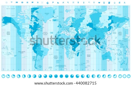 World map standard time zones soft stock vector hd royalty free world map with standard time zones soft tints of blue with clock icons gumiabroncs Gallery