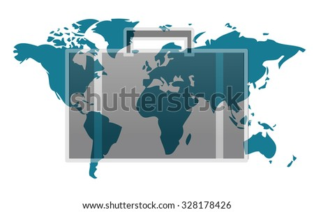 World map with suitcase isolated on white background - stock vector