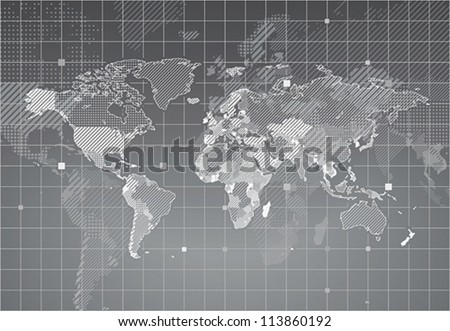 World map with textured countries. Vector illustration. - stock vector