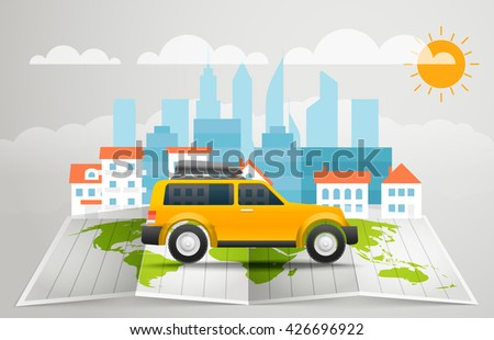 World map with the bus. Vector infographic elements. Summer vacation vector concept - stock vector