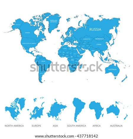 World map with the name of countries and continents. Vector illustration. - stock vector