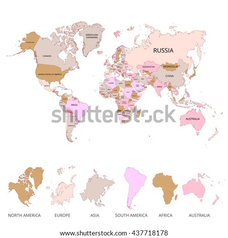 World map name countries continents vector stock vector 437718178 world map with the name of countries and continents vector illustration gumiabroncs Image collections