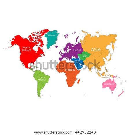 World map names continents vector illustration stock vector world map with the names of the continents vector illustration gumiabroncs Images