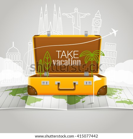 World map with the open bag. Vacation concept - stock vector