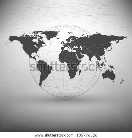 world map with the shadow on the gray background vector