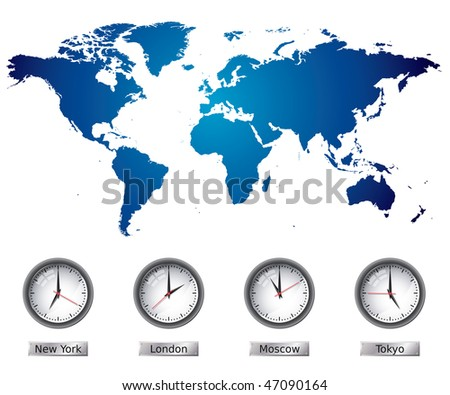 World Map with time zones