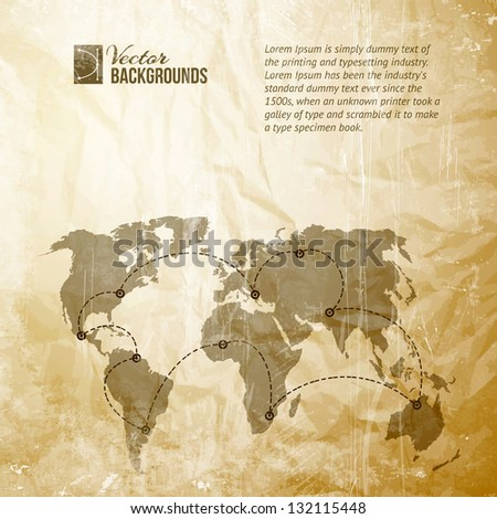 World map with track lines in vintage pattern. Vector illustration, contains transparencies, gradients and effects.