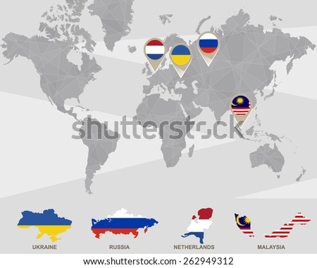 World map ukraine russia netherlands malaysia stock vector 262949312 world map with ukraine russia netherlands malaysia pointers plane crash vector gumiabroncs Images