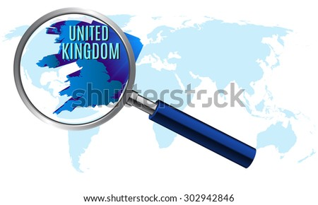 World map with united kingdom magnified by loupe. vector illustration. - stock vector
